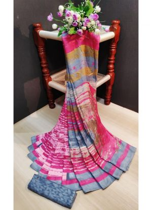 Fancy Printed Multi Color Pashmina Silk Saree With Blouse Piece
