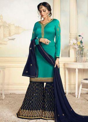Fancy Summer Designer Green Satin Georgette Salwar Suit