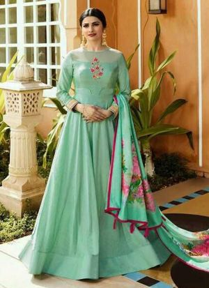 Fancy Summer Designer Sea Green Jenny Silk Salwar Suit