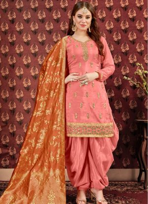 Festive Collection Dark Peach Designer Patiala Suit