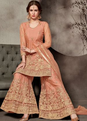 Festive Collection Orange Designer Sharara Suit