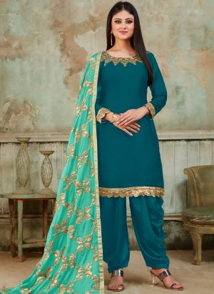 Festive Collection Teal Blue Designer Patiala Suit