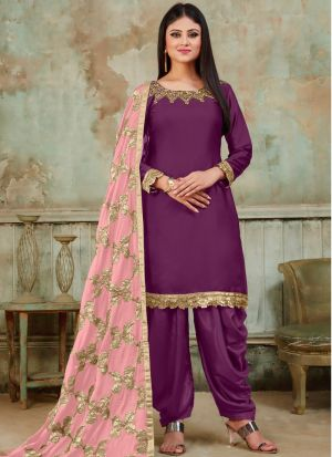Festive Collection Wine Designer Patiala Suit