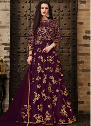Festive Special Wine Designer Anarkali Long Salwar Suit