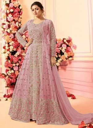 Festive Wear Baby Pink Heavy Net Floor Length Salwar Kameez