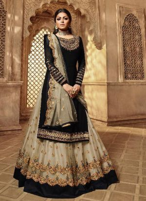 Festive Wear Black Satin Georgette Lehenga Style Salwar Suit