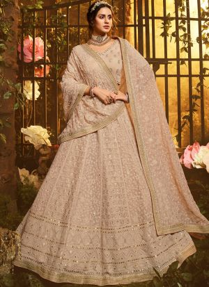 Festive Wear Light Brown Georgette Thread Work Lehenga Choli