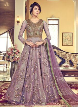 Festive Wear Light Lavender Heavy Net Floor Length Salwar Kameez
