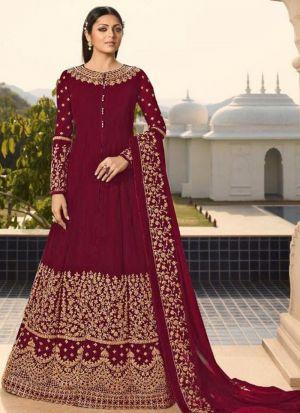 Festive Wear Maroon Faux Georgette Floor Length Salwar Kameez