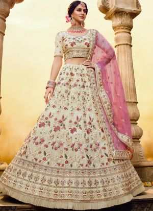 Festive Wear Off White Georgette Zarkan Work Ruffle Lehenga Choli