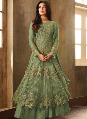 Festive Wear Parrot Heavy Net Floor Length Salwar Kameez
