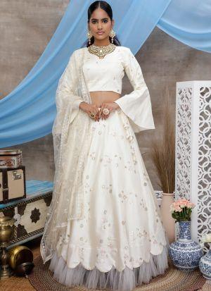 Festive Wear Pearl White Art Silk Lehenga Choli