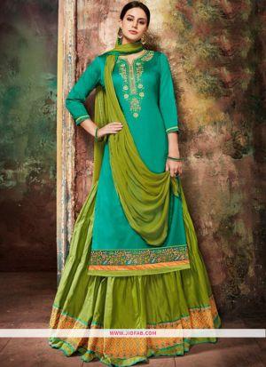 Festive Wear Rama Color Designer Floor Length Anarkali Salwar Suit