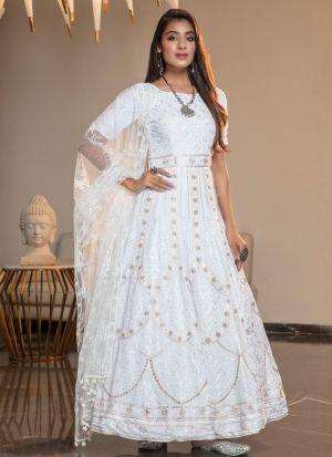 Festive Wear White Net Thread Work Latest Design Gown