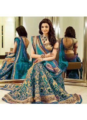 Firozi Banglori Silk Royal Looks Bridal Lehenga Choli With Chinon Silk Dupatta