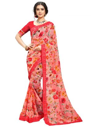 Floral Printed Red Georgette Saree