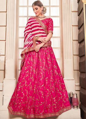 Flossy Pink Heavy Designer Lehenga Choli With Phantom Silk Fabric