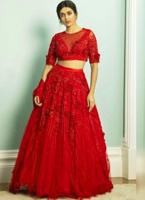 Flower Zari Work Classic Red Net Lehenga
