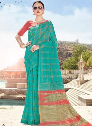 Formal Green Cotton Printed Saree