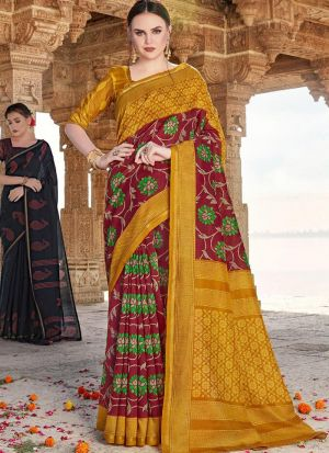 Formal Multi Color Cotton Printed Saree