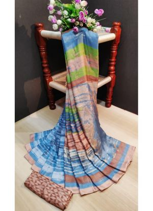 Formal Multi Color Pashmina Silk Printed Saree