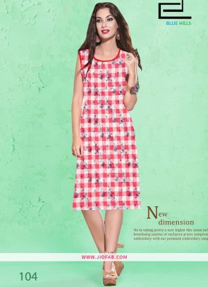 Fresh Red Cotton Fabric Stitched Summer Kurti Collection