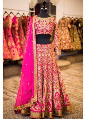 Fuchsia Pink Banglori Silk Wedding Wear Indian Designer Bridal Lehenga Collection