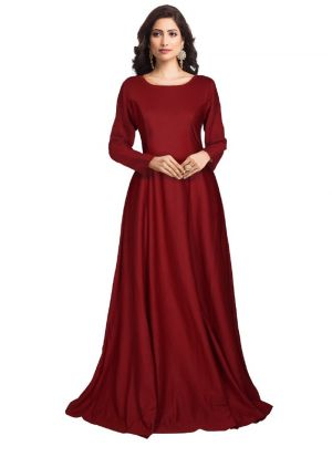 Full Sleeve Maroon Western Gown