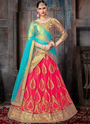 Gajari Designer Wedding Lehenga Choli With Net Fabric