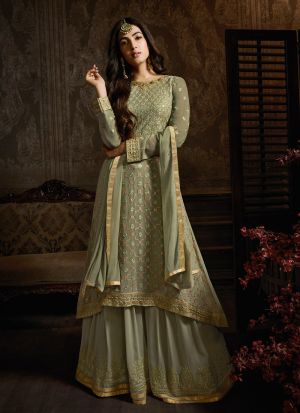 Georgette Green Designer Palazzo Suit For Bridal