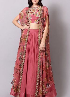 Georgette Magento Pink Hit Indo Western Lehenga