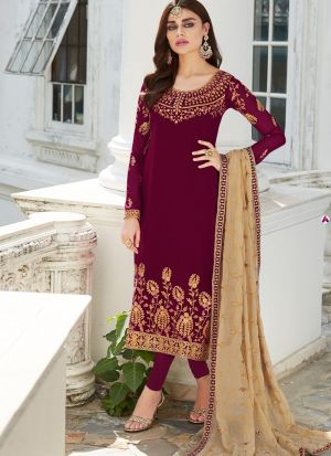 Georgette Maroon Staight Cut Suits For Party