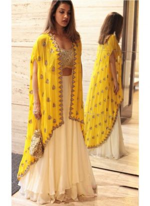 Georgette Milky White looking for something classy lehenga choli