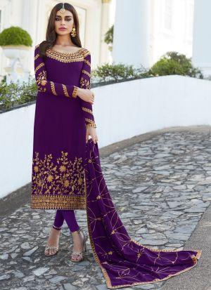 Georgette Violet Staight Cut Suits For Party