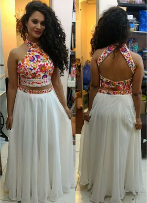 Georgette White looking for something classy Crop Top lehenga choli