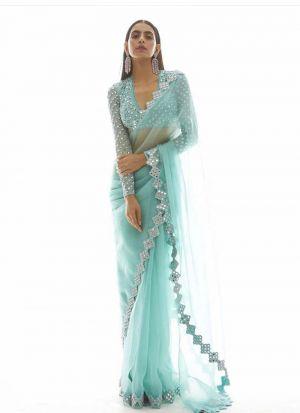 Glamorous Party Wear Sea Green Mono Net Mirror Work Saree