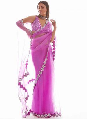 Glamorous Pink Mono Net Mirror And Foil Work Saree