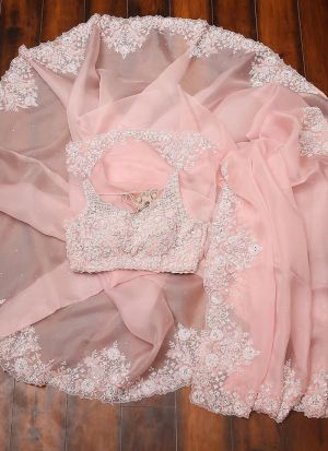 Glorious Baby Pink Georgette Hand And Sequence Work Saree