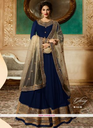 Glossy 9086 Navy Georgette Embroidered Wedding Salwar Suit
