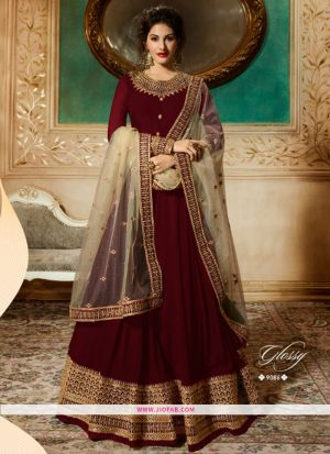 Glossy 9086 Red Georgette Embroidered Partywear Salwar Suit