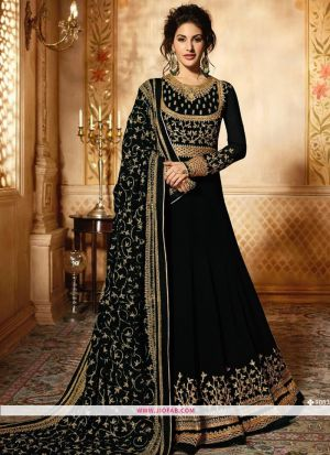 Glossy Simar 9085 Black Georgette Embroidered Wedding Salwar Suit
