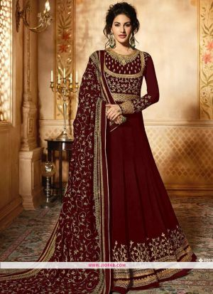 Glossy Simar 9085 Red Georgette Embroidered, Festive Salwar Suit