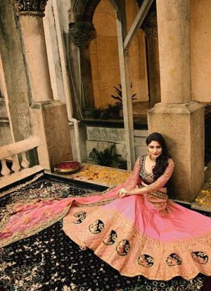 Gorgeous Anika looking Stunning In Beautiful In Light Peach Paper Silk Thread Work Designer lehenga
