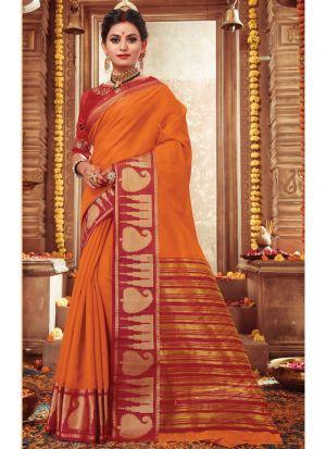 Gorgeous Orange Designer Handloom Silk Saree