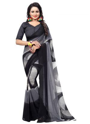 Gorgeous Regular Wear Black Printed Saree