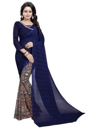 Gorgeous Regular Wear Navy Printed Saree