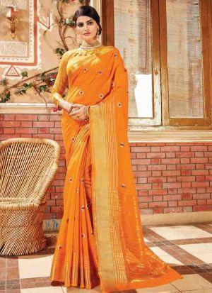 Gorgeous Yellow Designer Handloom Silk Saree