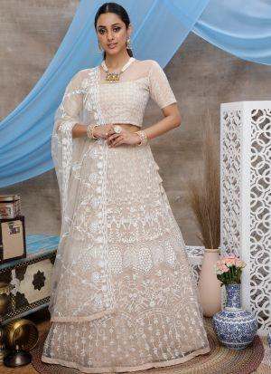 Graceful Beige Wedding Wear Net Lehenga Choli