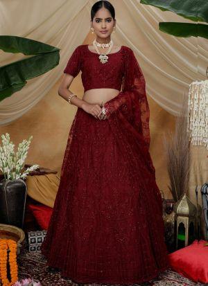 Graceful Maroon Wedding Wear Net Lehenga Choli