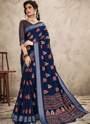 Graceful Navy Festive Wear Chanderi Saree